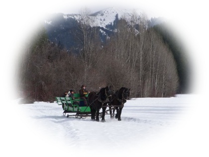 Mountain views from a group sleigh ride at Eagle Creek Ranch near Leavenworth, WA